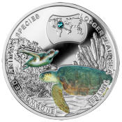 Niue 2014 1$ Loggerhead Sea Turtle - Endangered Animal Species 1/2 oz Proof Silver Coin