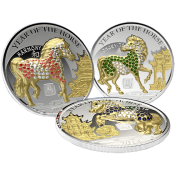 Rwanda 2014 3 x 500 Francs  Pave-set  Year of the Horse Proof Silver Set