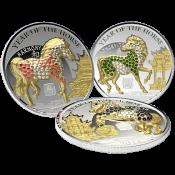 Rwanda 2014 3 x 500 Francs  Pave-set  Year of the Horse Proof Silver Set