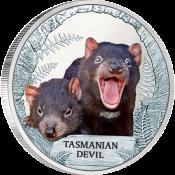 Tuvalu 2013 1$ Tasmanian Devil Endangered and Extinct Proof Silver Coin