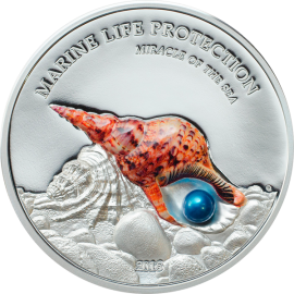 Palau 2016 5$ PEARL Miracle of the Sea Marine Life Protection 1oz Proof Silver Coin