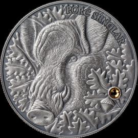 Andorra 2014 10 diners Wild Boar - Atlas of Wildlife Antique finish Silver Coin
