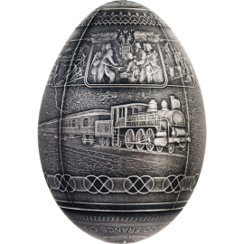 Cameroon 2016 5000 Francs Trans-Siberian Railway Egg Imperial Faberge Eggs 3D 7oz Antique finish Silver Coin