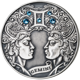 Belarus 2014 20 rubles Gemini Signs of the zodiac  Antique finish Silver Coin