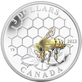 Canada 2013 3$  Bee & Hive Animal Architects Proof Silver Coin