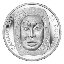 Canada 2014 25$ Matriarch Moon Mask Proof Silver Ultra High Relief  Coin