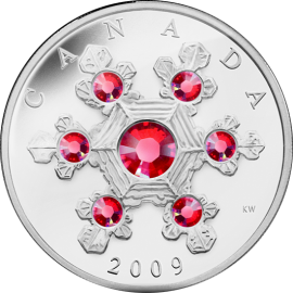 Canada 2009 20$ Pink Crystal Snowflake (2009) Proof Silver Coin
