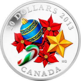 Canada 2013 20$ Holiday Season with Venetian Glass Candy Cane Silver Proof Coin