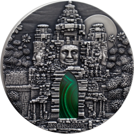 Congo 2016 10000 Francs ANGKOR WAT 1 kg Antique finish Silver Coin with Malachite