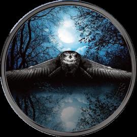 Ivory Coast 2017 2000 francs Nocturnal Owl Night Hunters 3 oz BU Silver Coin