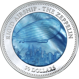 Cook Islands 2013 50$ 175th anniversary of the German Zeppelin Airship Hindenburg Mother of Pearl 5 Oz Proof Silver Coin