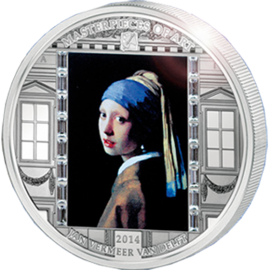 "Cook Islands 2014 20$ ""Girl with a Pearl Earring"" Vermeer  Masterpieces of Art 3 oz Proof Silver Coin"