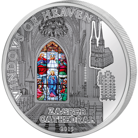 Cook Islands 2015 10$ Zagreb Cathedra   Windows Of Heaven Proof-like Silver Coin