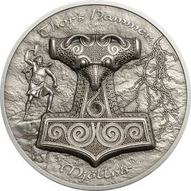 Cook Islands 2017 10$ Thor's Hammer Mjollnir - Norse Mythology 2 oz Antique Finish Ultrahigh Relief Silver Coin