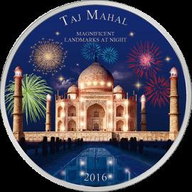 Ivory Coast 2016 2000 Francs Taj Mahal  Landmarks at Night 2 oz BU Silver Coin