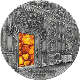 Fiji 2015 10$ Amber Room Masterpieces in Stone 3 oz Antique finish Silver Coin