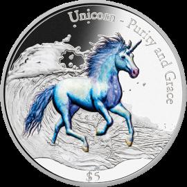Fiji 2016 5$ Unicorn Purity and Grace 3 oz Proof-like Silver Coin