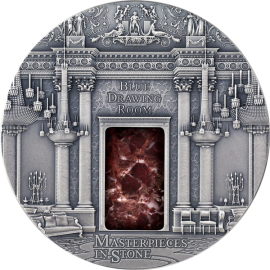 Fiji 2014 10$ Masterpieces in Stone - Blue Drawing Room 3 oz Ag Antique finish