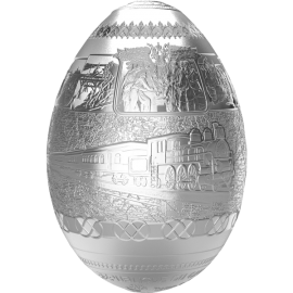 Cameroon 2016 5000 Franc Trans-Siberian Railway Egg Imperial Faberge Eggs 7oz Proof Silver Coin