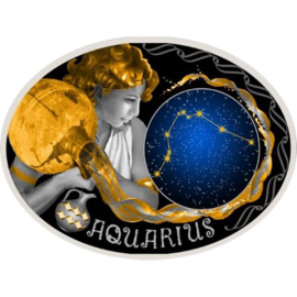 Macedonia 2014 10 Denars Aquarius Signs of the Zodiac Proof Silver Coin