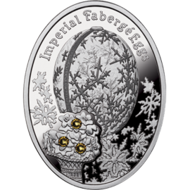 Niue 2012 1$ Winter Egg Imperial Faberge Eggs Proof Silver Coin