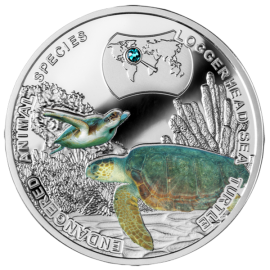 Niue 2014 1$ Loggerhead Sea Turtle - Endangered Animal Species 1/2 oz Proof Silver Coin