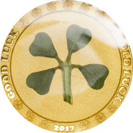 Palau 2017 1$ Ounce of Luck 2017 Four-leaf clover  1g Proof Gold Coin