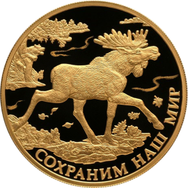 Russia 2015 200 rubles Elk Elch Moose Protect Our World Proof Gold Coin