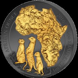 Rwanda 2016 50 Francs Golden Enigma African Meerkat 1oz BU Silver Coin