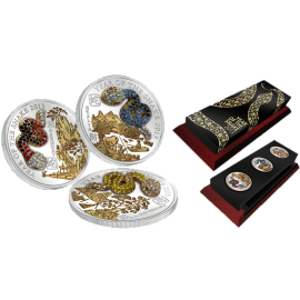 Rwanda 2013 3 x 500 Francs Pave Coin Set – Year of then Snake Proof Silver Set