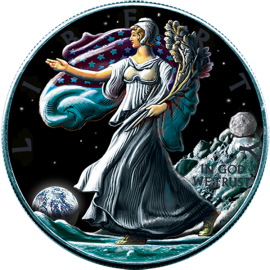USA 2016 1$ Liberty Eagle Walking on Moon Ounce of Space 1 oz BU Silver Coin with Meteorite NWA 10203