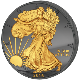 United States 2016 1$ Walking Liberty 30 Years Eagle Premium Edition Golden Enigma 1oz BU Silver Coin