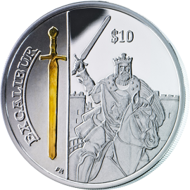 British Virgin Islands 2013 10$ Excalibur Legendary Weapons Proof Silver Coin
